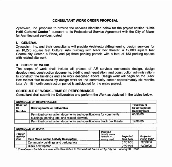 Construction Work order Template Luxury Work Proposal Template 15 Free Sample Example format