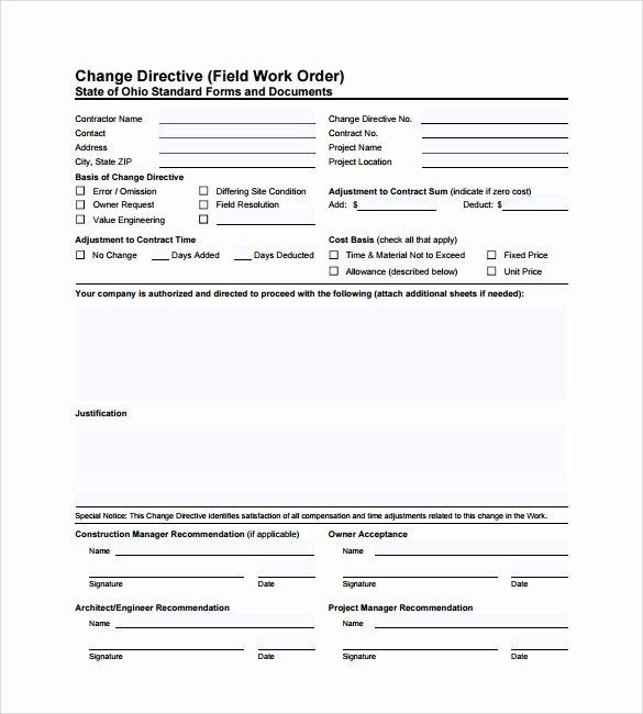 Construction Work order Template Unique 6 Sample Construction Work order forms Pdf