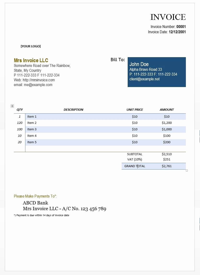 Consulting Invoice Template Word Fresh Word Document Invoice Template Cool Design Consulting