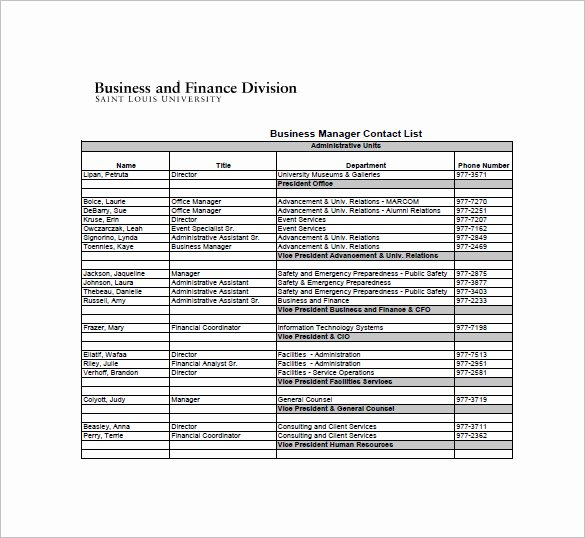 Contact List Template Pdf Awesome 10 Contact List Examples Pdf