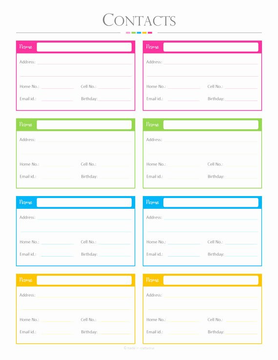 Contact List Template Pdf Beautiful Contacts List Pdf Planner Contact List Checklist List to