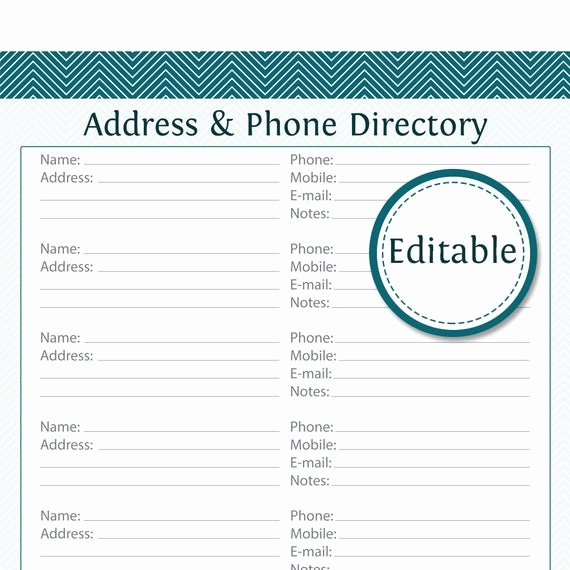 Contact List Template Pdf Fresh Address & Phone Directory Fillable Printable Pdf Instant