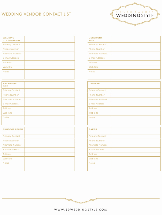 Contact List Template Pdf Lovely Wedding Vendor Contact List Template Weddingstyle