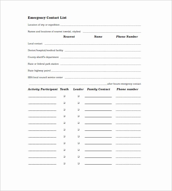 Contact List Template Pdf New Contact List Templates
