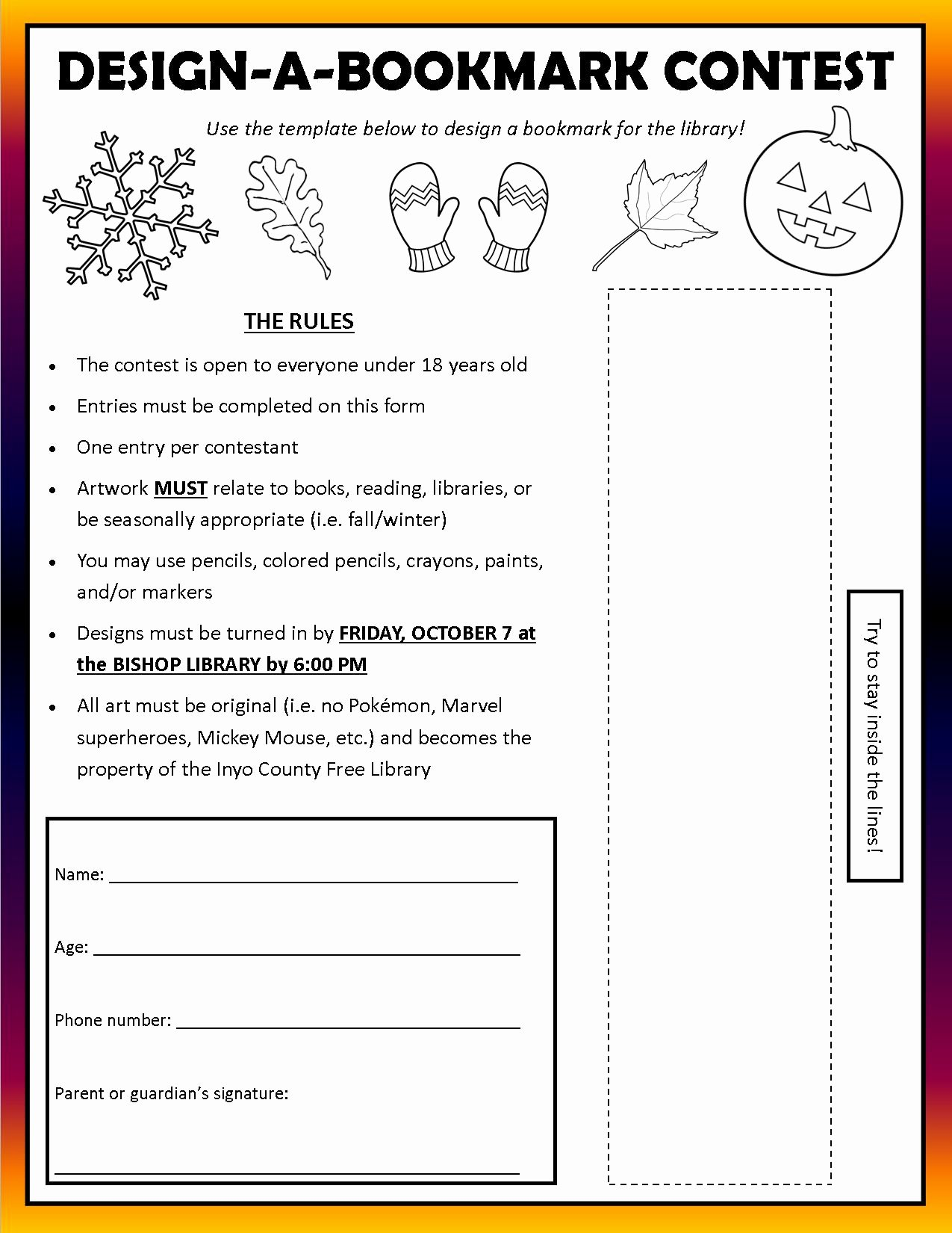 Contest Entry form Template Luxury Design A Bookmark Contest at Bishop Library Sierra Wave