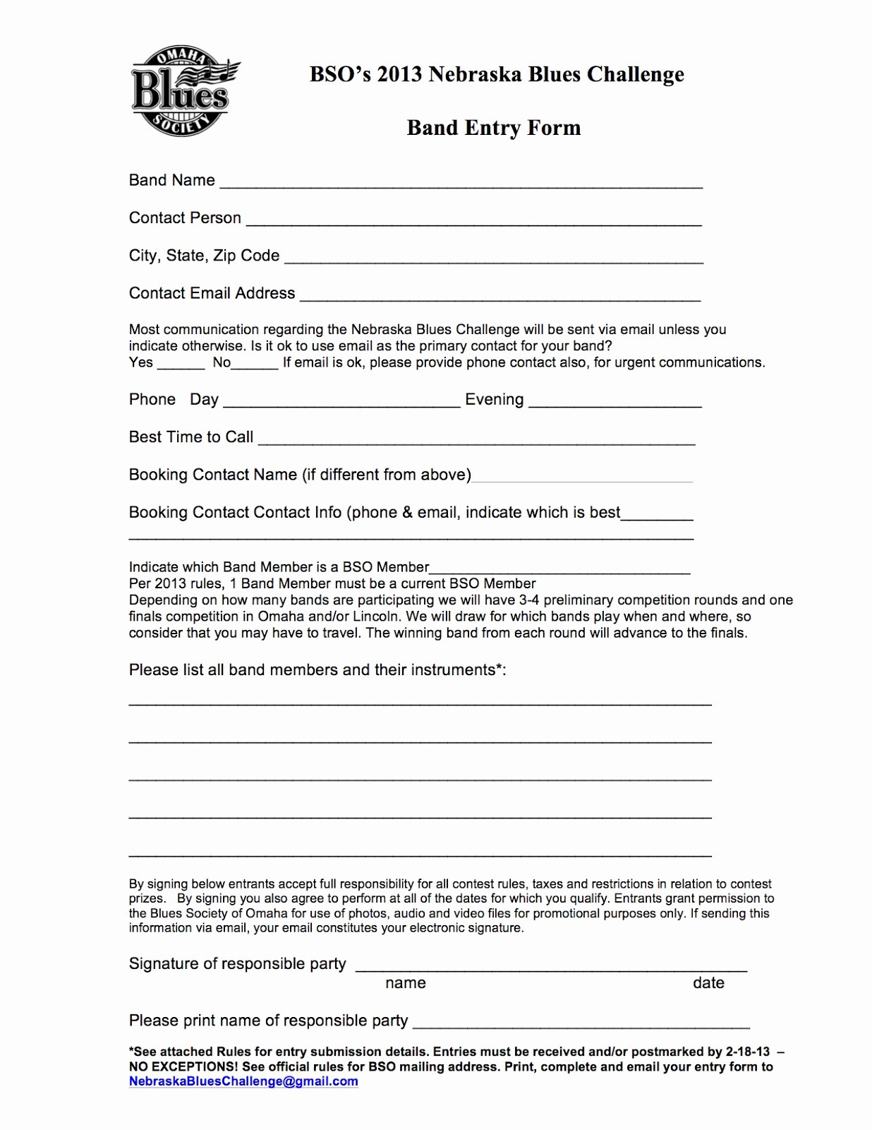 Contest Entry form Template New Nebraskablueschallenge Rules & Entry form for 2013 14