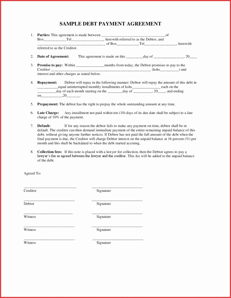 Contract Template Between Two Parties Awesome Payment Agreement Two Parties