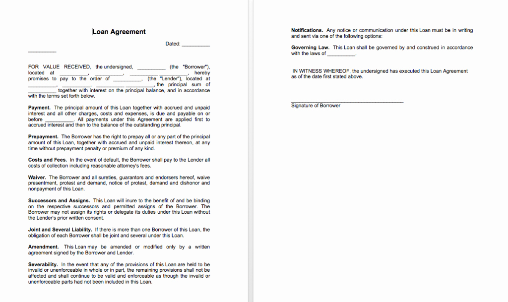 Contract Template Between Two Parties Lovely Sample Of Loan Agreement Between Two Parties