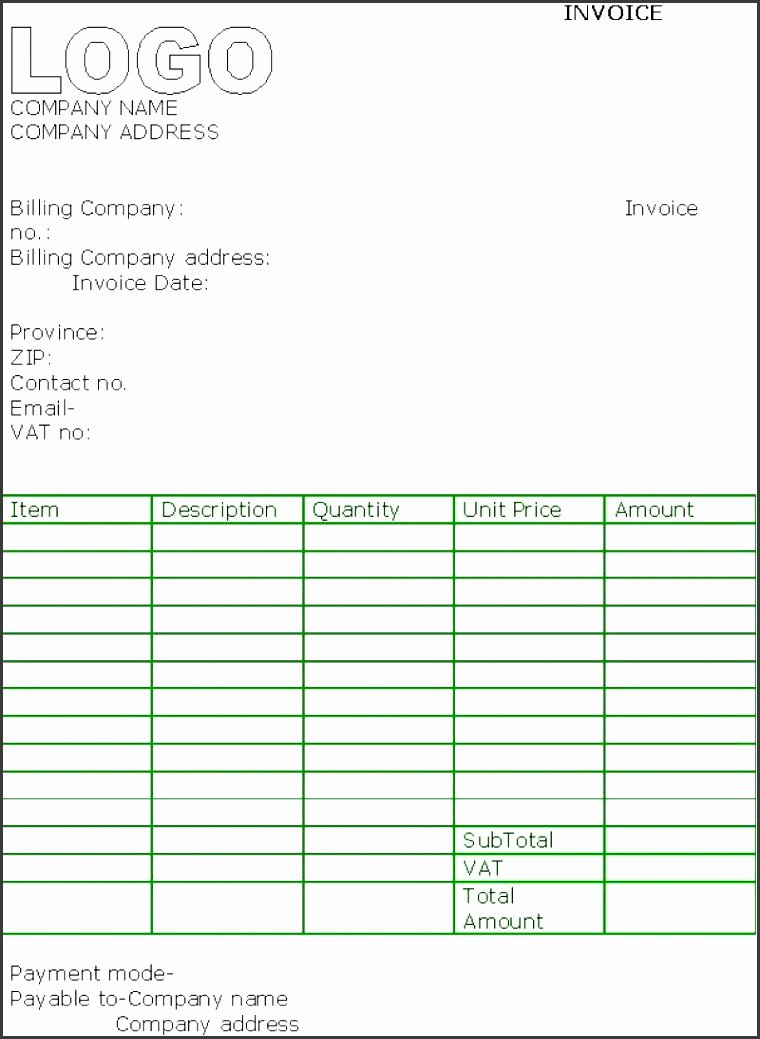 Contractor Invoice Template Excel Awesome 5 Free Contractor Invoice Template In Excel