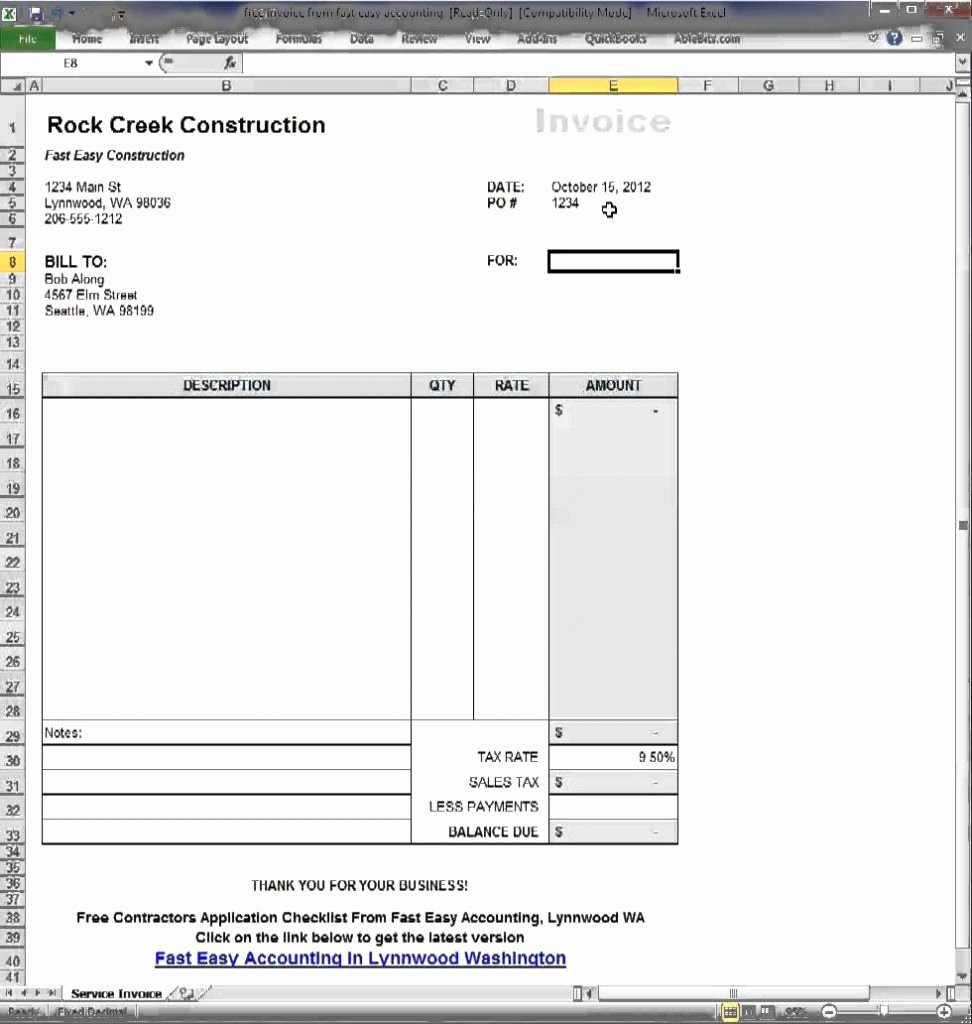 Contractor Invoice Template Excel Fresh Simple Contractor Invoice Template How to Get People to