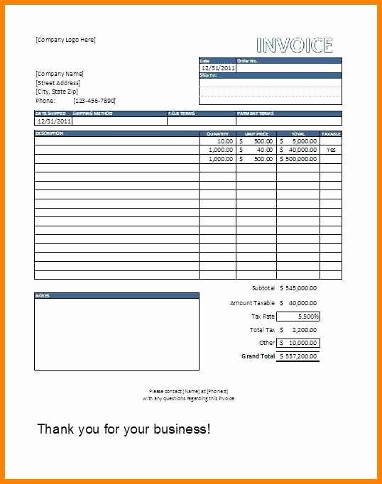 Contractor Invoice Template Excel New 6 Editable Invoice Template Excel