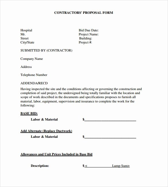 Contractor Proposal Template Free Awesome Sample Contractor Proposal 13 Documents In Pdf Word