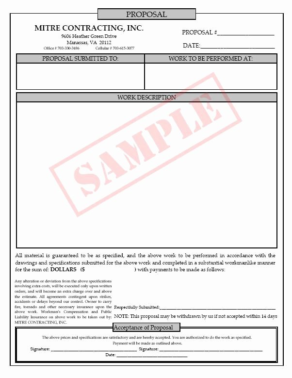 Contractor Proposal Template Free Best Of 9 Best Contractor forms Images On Pinterest