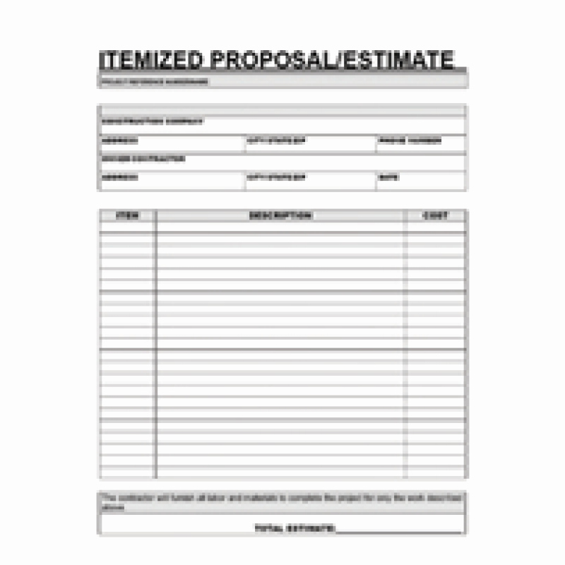Contractor Proposal Template Free Lovely Free Printable Contractor Proposal forms