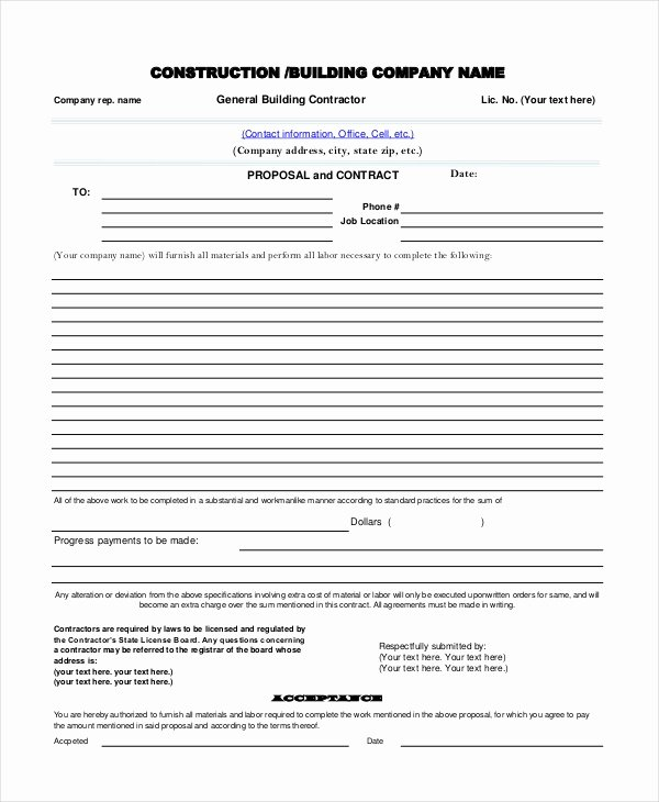 Contractor Proposal Template Pdf Best Of Sample Contractor Proposal forms 7 Free Documents In