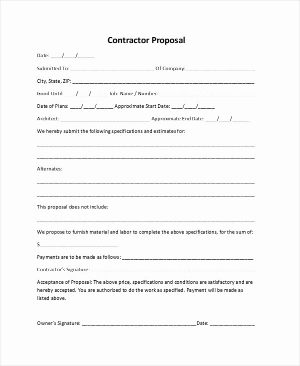 Contractor Proposal Template Pdf Elegant Sample Construction Proposal forms 7 Free Documents In
