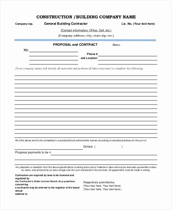 Contractor Proposal Template Pdf Inspirational 7 Construction Project Proposal Templates Pdf Word
