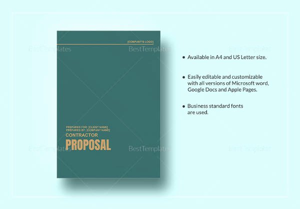 Contractor Proposal Template Word Awesome Sample Contractor Proposal 13 Documents In Pdf Word