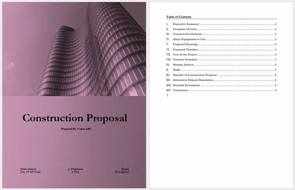 Contractor Proposal Template Word New 14 Free Construction Proposal Templates Word Templates