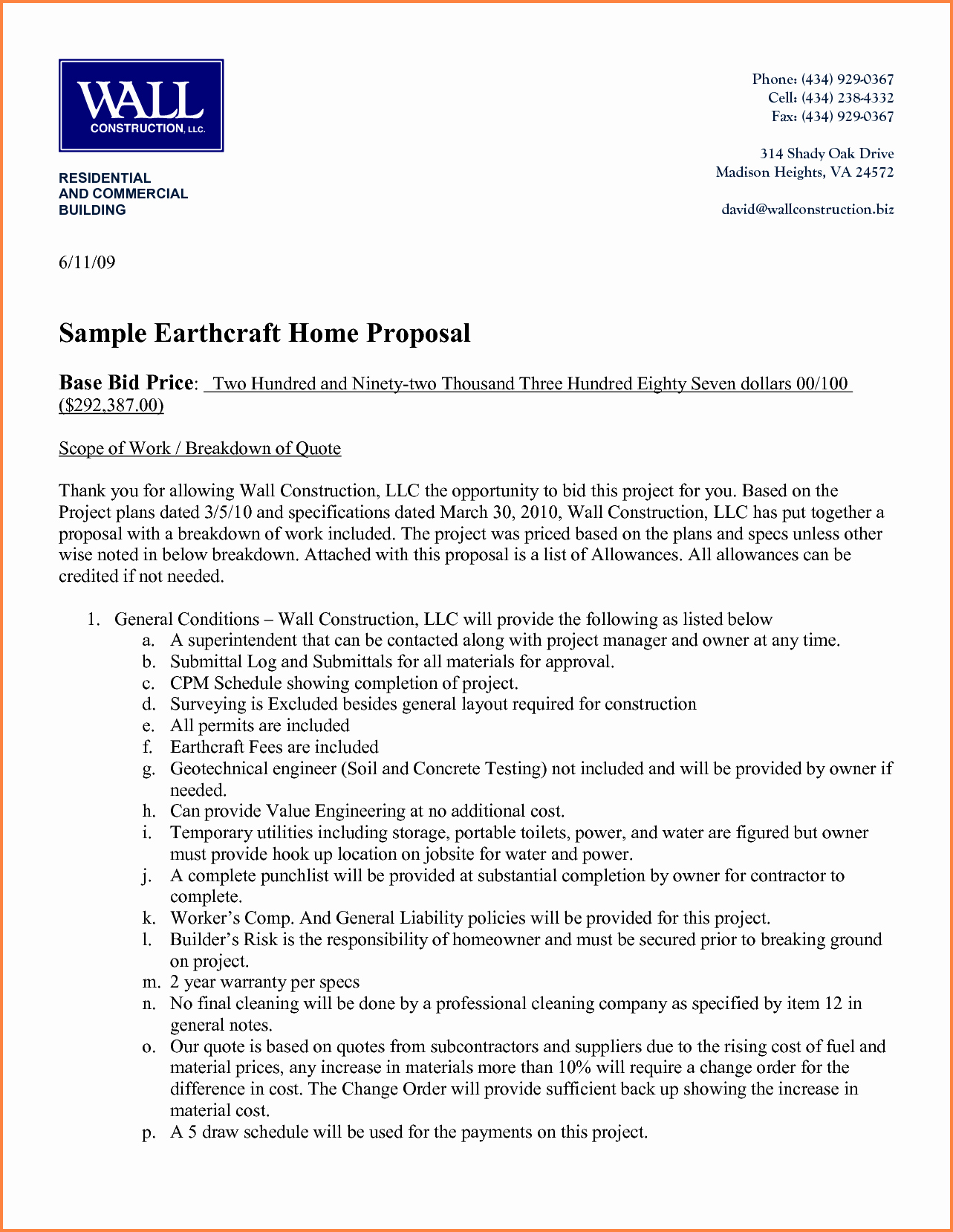 Contractor Proposal Template Word New 6 Construction Proposal format