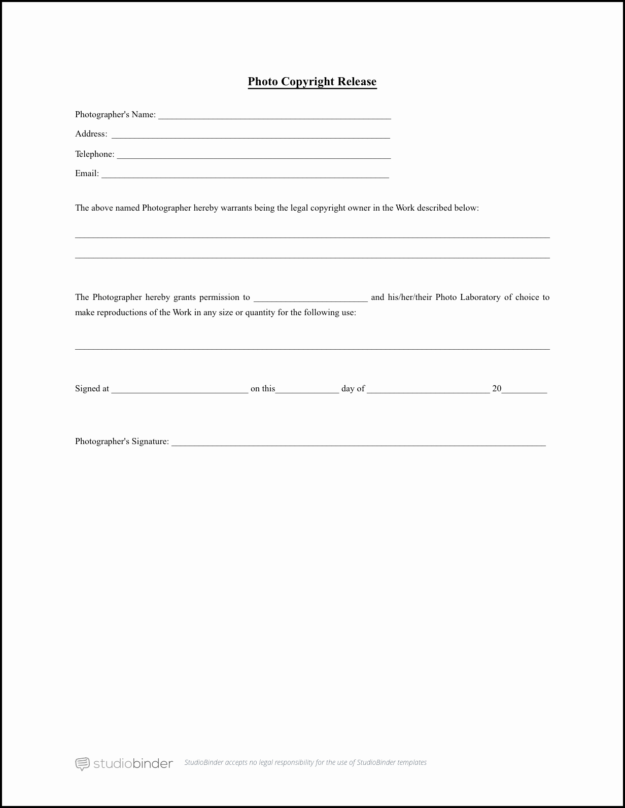 Copyright Release form Template Beautiful Download Free Release form Template
