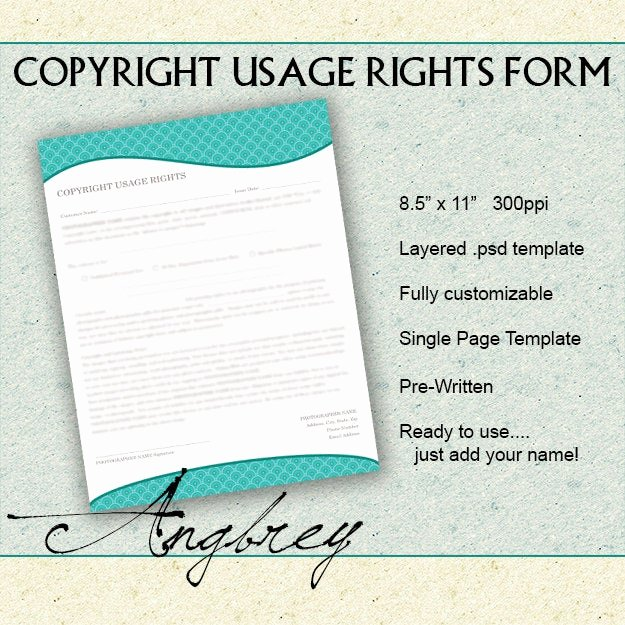 Copyright Release form Template Best Of Copyright Usage Rights form for Graphers Print Release