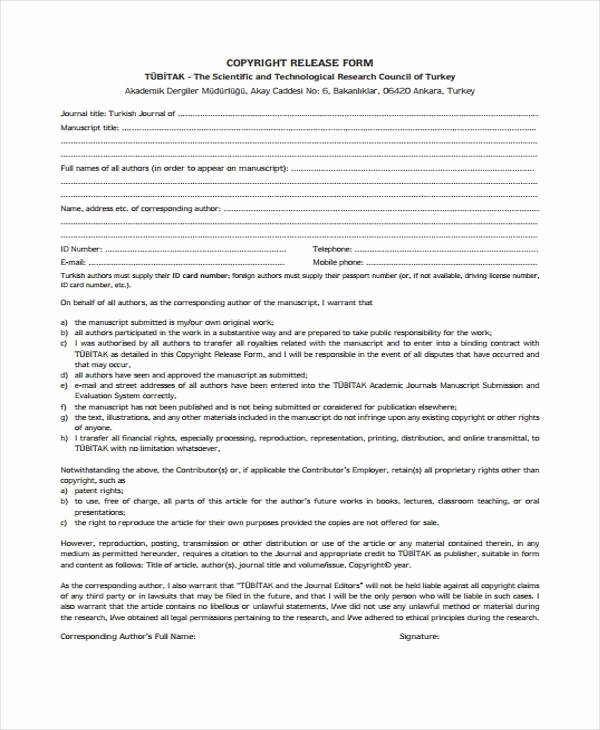 Copyright Release form Template Elegant Free 38 Release form Templates