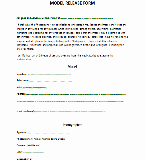 Copyright Release form Template Fresh Model Release forms