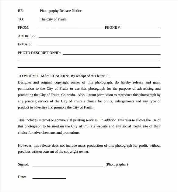 Copyright Release form Template Fresh Sample Print Release forms 6 Free Documents In Pdf