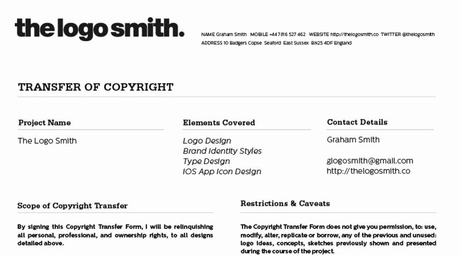 Copyright Release form Template Luxury Logo Design Copyright Transfer form Template for Download