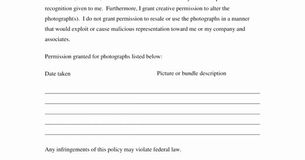 Copyright Release form Template New Free Generic Copyright Release form Pdf