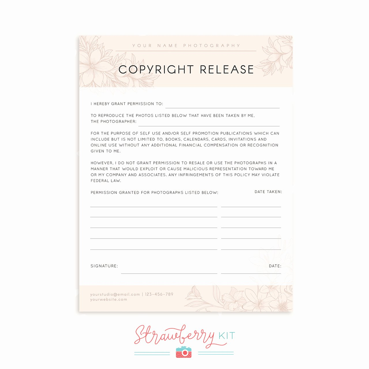Copyright Release form Template Unique Copyright Release form Template Strawberry Kit