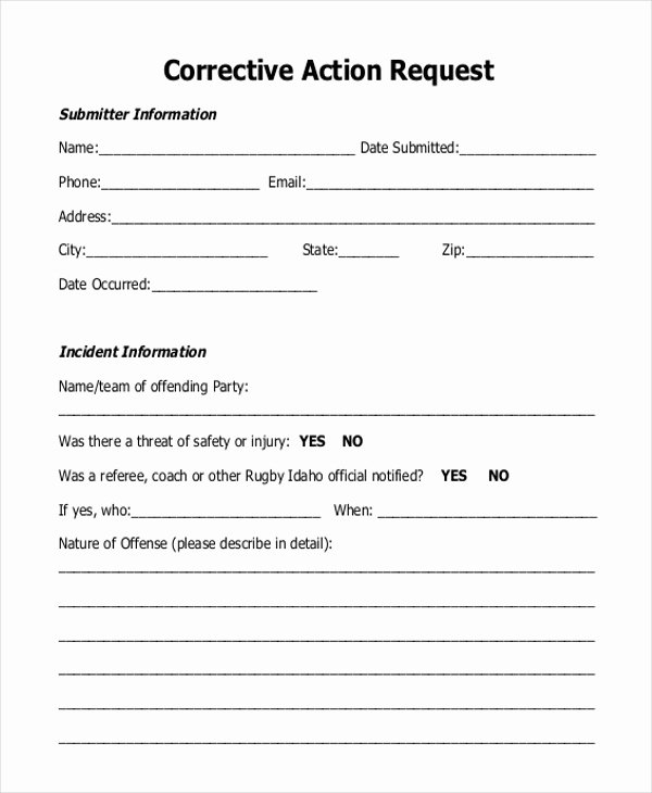 corrective action form
