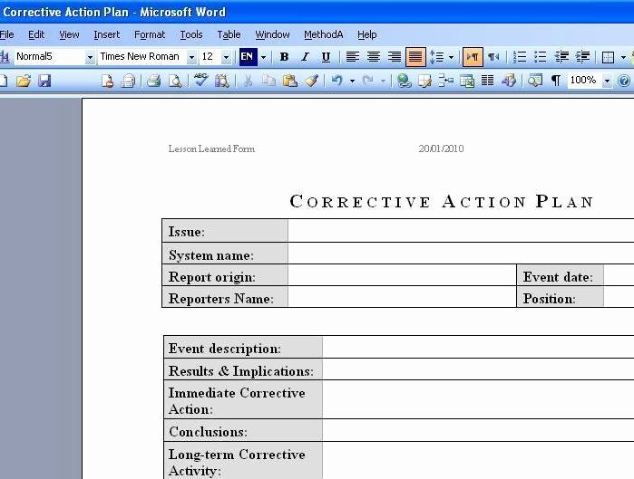 Corrective Action form Template Luxury Free Download Deployment Plan Template Excel