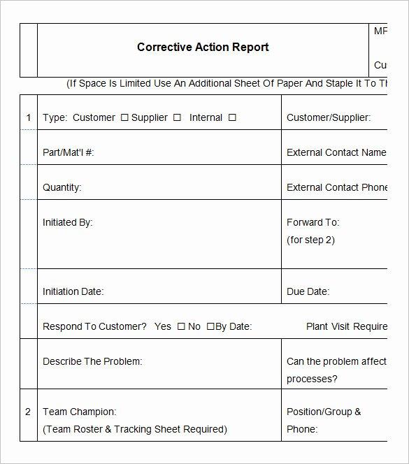 Corrective Action form Template Unique 9 Corrective Action Report Templates Free Word Pdf
