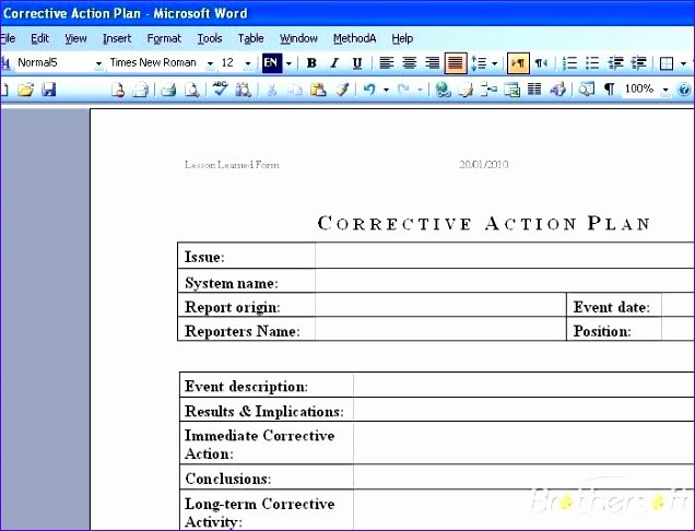 Corrective Action Plan Template New 8 Templates Invoices Free Excel Exceltemplates
