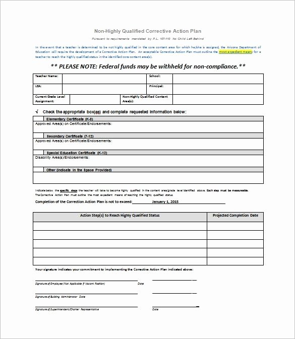 Corrective Action Plan Template New Corrective Action Plan Template
