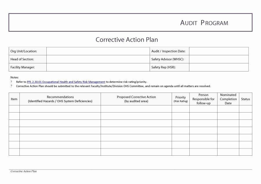 Corrective Action Plan Template Word Fresh Corrective Action Plan Template