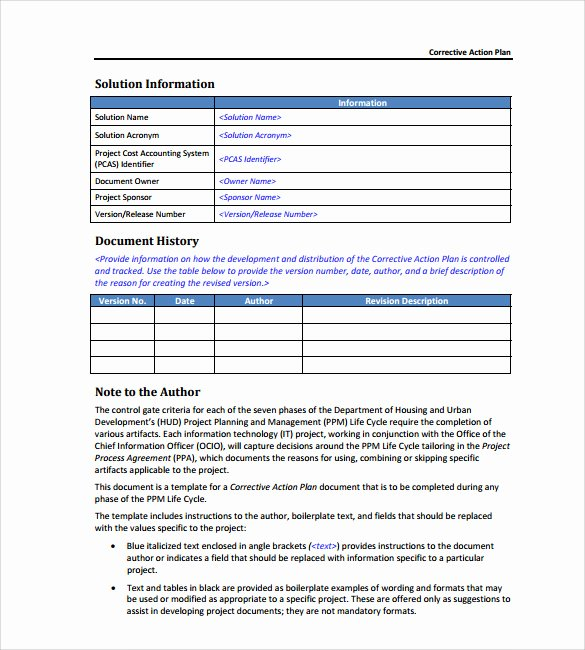 Corrective Action Plan Template Word Inspirational Sample Corrective Action Plan Template 9 Documents In