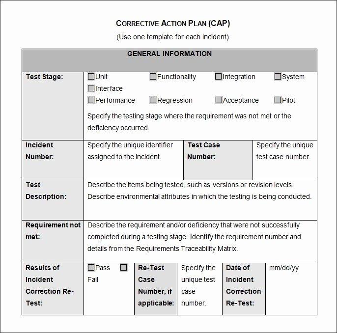 Corrective Action Plan Template Word Unique Corrective Action Plan Template