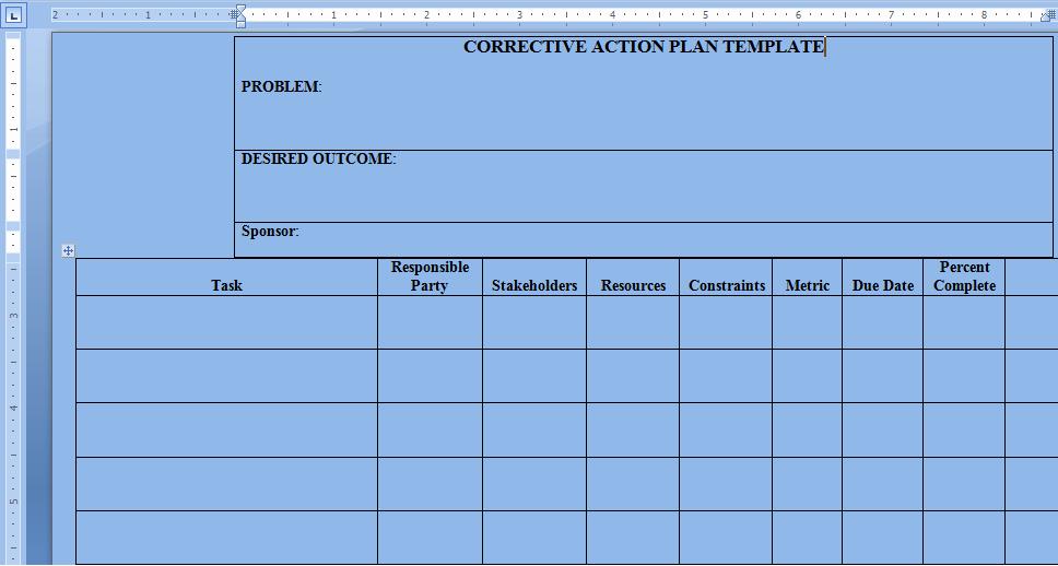 Corrective Action Plan Template Word Unique Corrective Action Plan Template Word Project Management