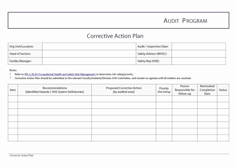 Corrective Action Template Word Best Of Corrective Action Plan Template – Guatemalago