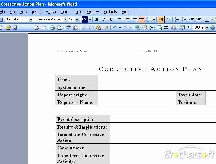 Corrective Action Template Word Inspirational Download Free Corrective Action Plan Corrective Action