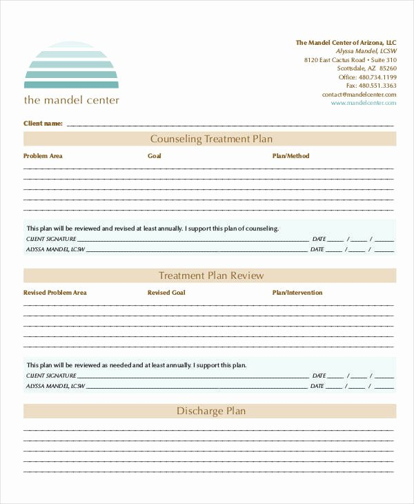 Counseling Treatment Plan Template Pdf Inspirational Free 23 Treatment Plan In Examples Samples Google Docs