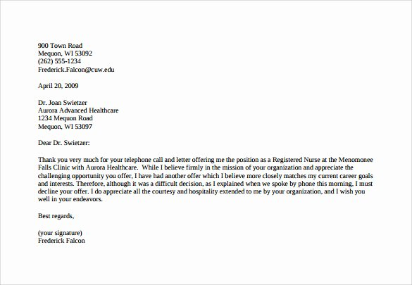 Counter Offer Letter Template Fresh Sample Counter Fer Letter 6 Free Documents Download