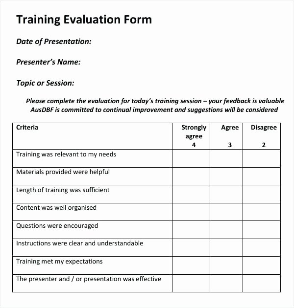 Course Evaluation Template Word Awesome Sample Training Evaluation form – Pdgroup
