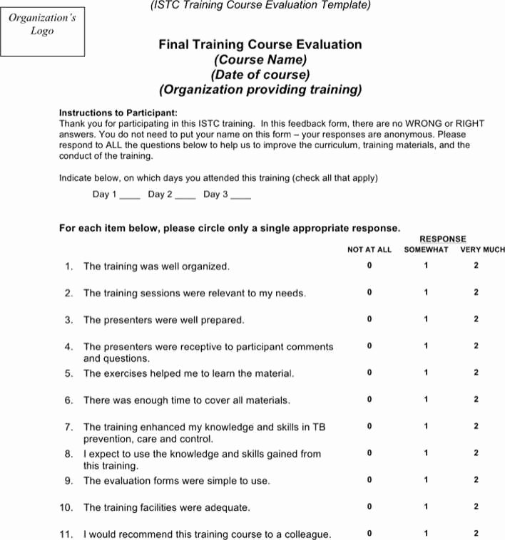 Course Evaluation Template Word Luxury Download Training Course Evaluation Template for Free