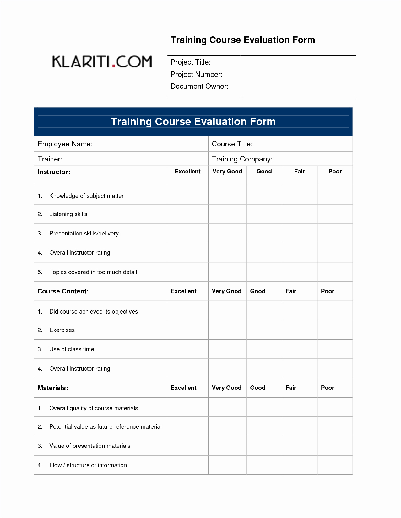 Course Evaluation Template Word Luxury Editable Feedback form Template for Training Evaluation
