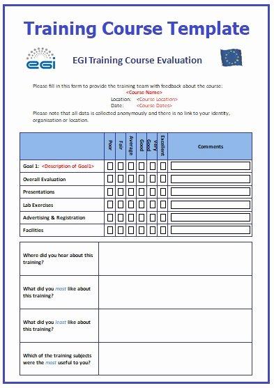 Course Evaluation Template Word Unique Training Course Templates