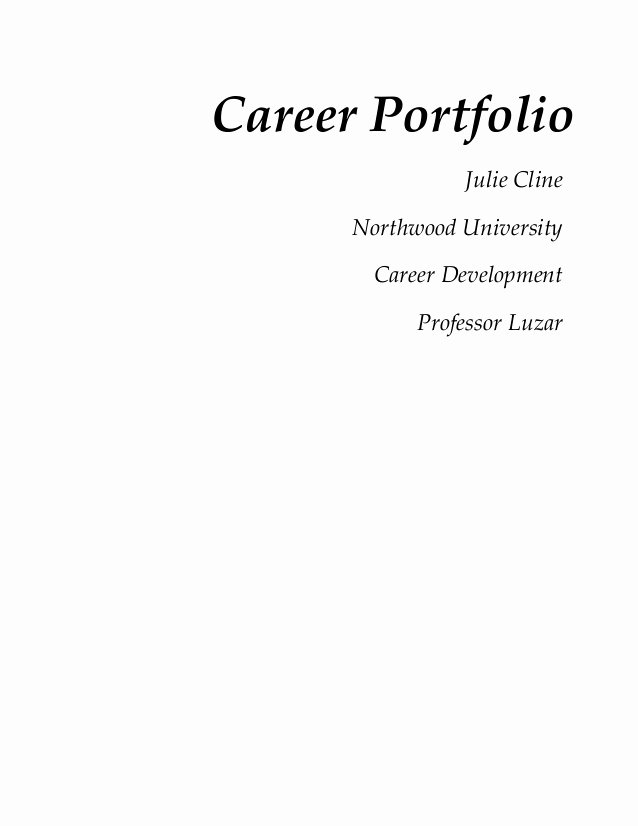 Cover Page for Portfolio Template Elegant Cover Page